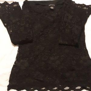 Moda Tops - Black shher lace ,w/ cami bell longsleeve blouse
